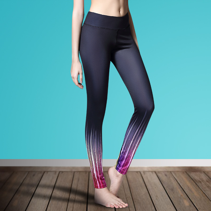 2018 Compress Sporting Leggings Women Fitness Workout Pants Summer Thin Strip Fitness Sporting Women Leggings S-L