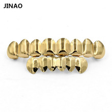 JINAO 8 zęby złoto sadzenia góra dół GRILL Bling usta zęby czapki Hip Hop Grillz złote zęby grille zestawy biżuterii tanie tanio Ciało biżuteria Moda Szkielet Grillz Dental grille G-018-G Metal Hiphop Rock Miedzi