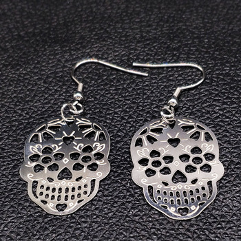 Skull Silver Hollow Drop Earring4
