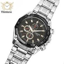 GW1114 CHENXI Negocios Impermeable Tres ojos de Los Hombres de Moda de Acero Inoxidable Reloj de pulsera de Cuarzo Ocasional reloj Deportivo Relogio masculino