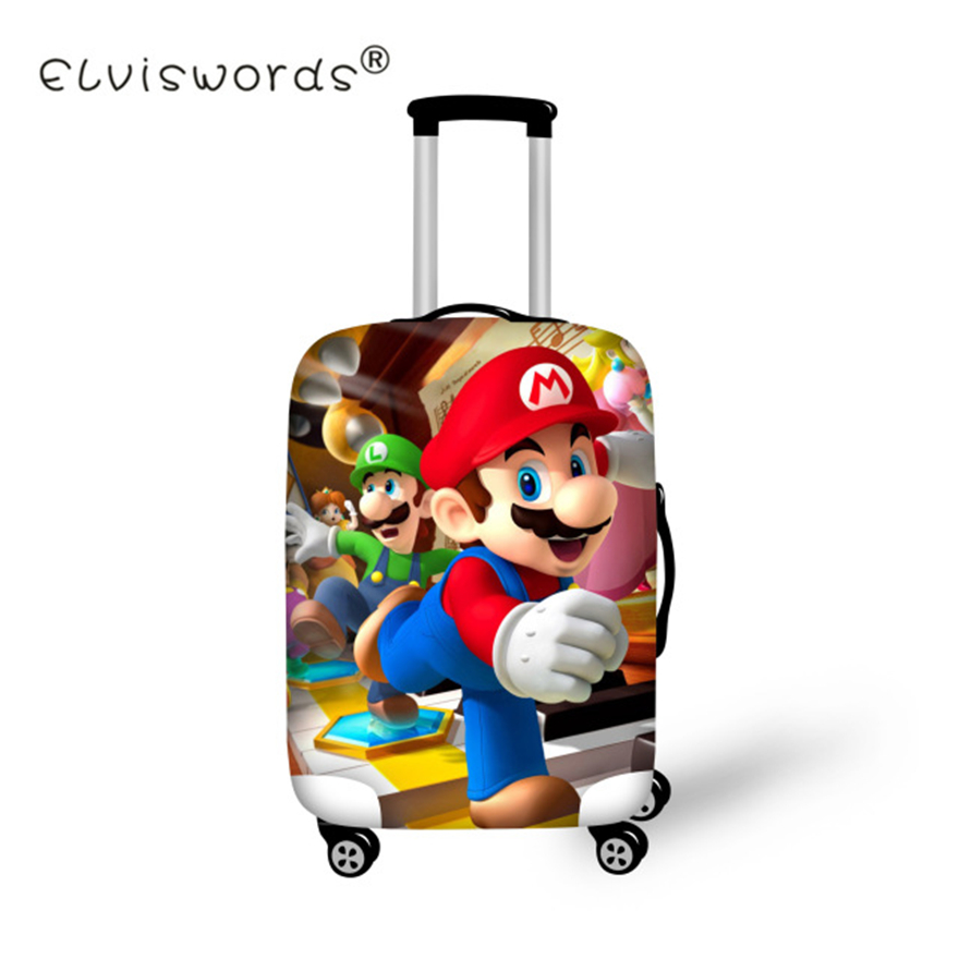 ELVISWORDS Cute Suitcase Protective Covers Cartoon Super Mario Luggage Cover Elastic Travel Bag Cover Stretch Travel Accessories