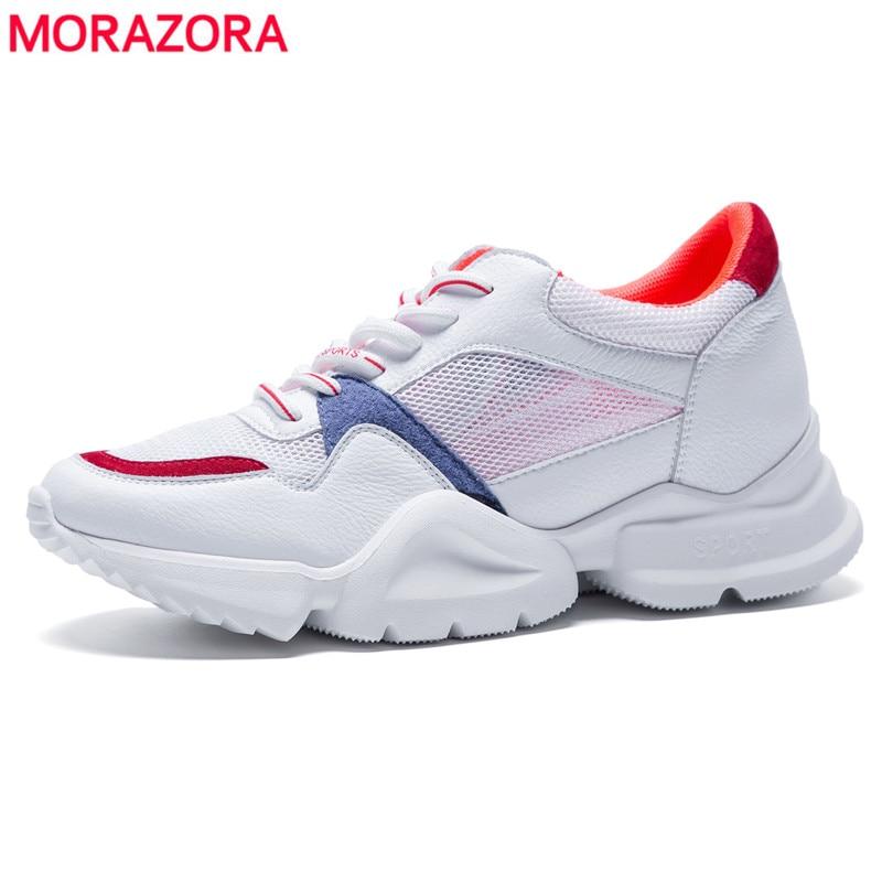Morazora Pour Cuir Sneakers slip Chaussures Femme En Pink red Véritable Non Lacets Dames Femmes Printemps Blue Été Plates À 2018 Arrivent Nouveau Yellow Confort g6fby7