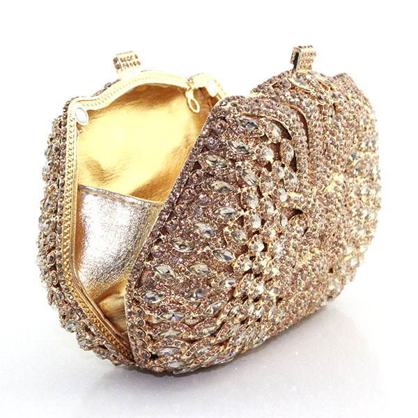 2016 Fashion Gold Box Crystal Rhinestone Evening Bag Indian Bridal Clutch Las Handbag 8738a G In Bags From Luggage On