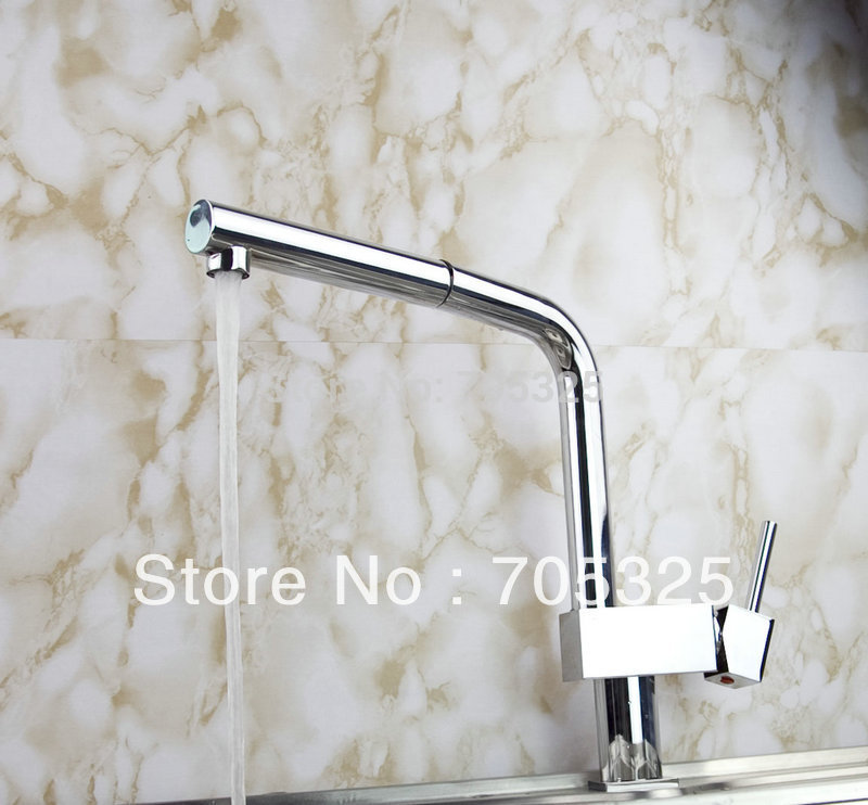 Solid Brass Pull Out Spray Faucet Chrome Single Handle Kitchen Sink Mixer Tap Z803 kitchen sink faucets lift rotatable pull out hose spray head chrome polish silver single handle solid brass deck mount mixers