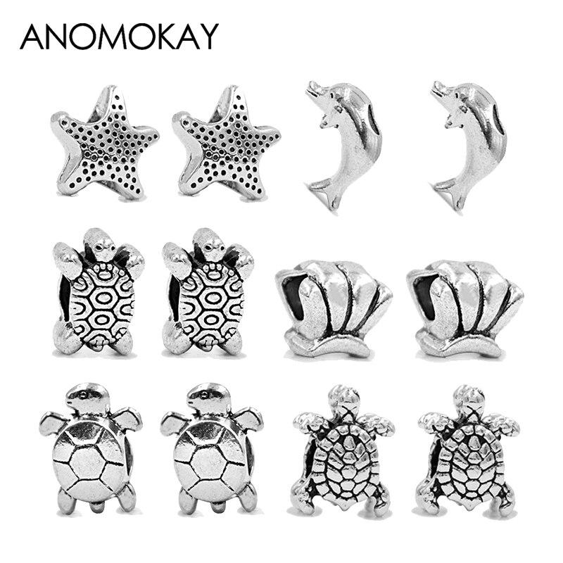 ANOMOKAY 12PCS/LOT Antique Silver Color Tortoise Dolphin Starfish Beads Combine fit Pandora Charm Bracelet Bead & Jewelry Making