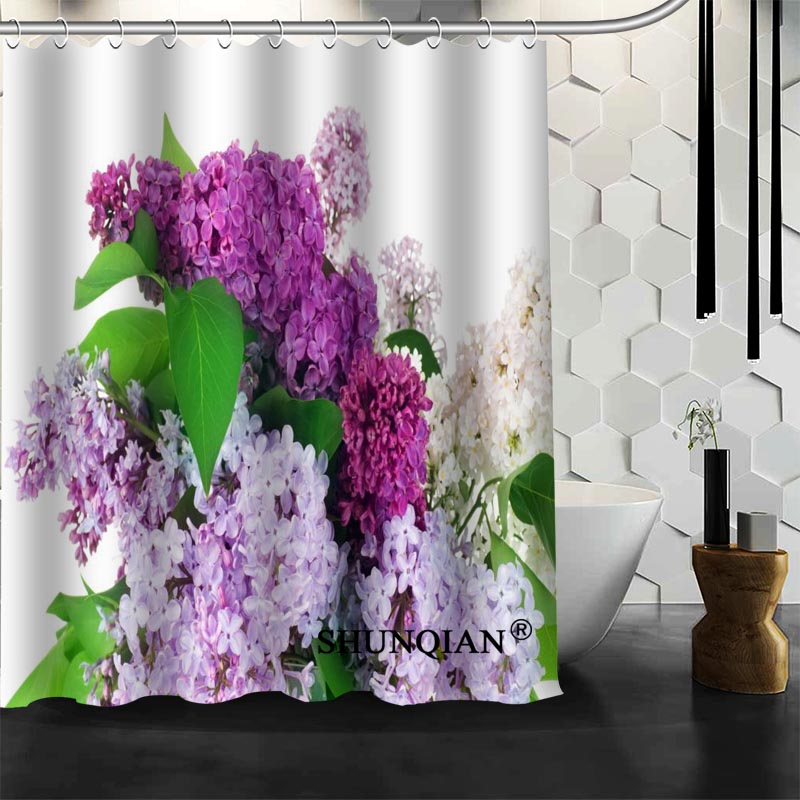 Popular Custom Nature Flowers Lilac Shower Curtains Polyester Bathroom Waterproof Bath Curtain Size 150X180cm165X200cm180X200cm