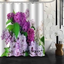 Popular Custom Nature Flowers Lilac Shower Curtains Polyester Bathroom Waterproof Bath Curtain Size 150X180cm165X200cm180X200cm flowers blossom waterproof bath curtain