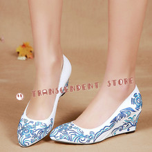New Arrival Women Elegant Dress Pumps Fashion Pointed Toe Wedge Heel Blue White China Style Embroider Handmade Women Shoes