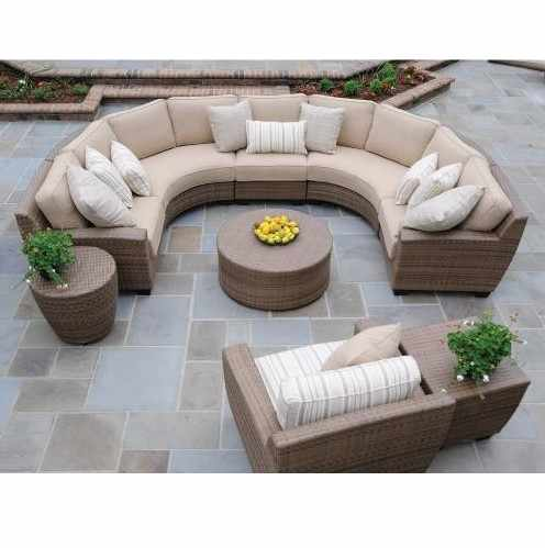 Hot sale comfortable garden furniture semicircular sofa rattan couches for sale