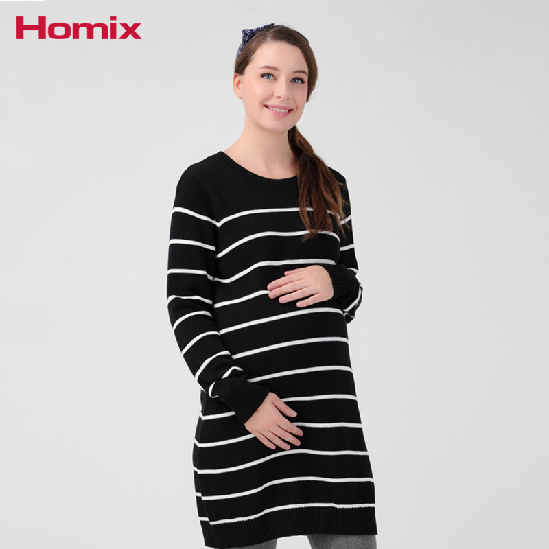 Maternity Sweater Dresses Pregnancy Winter Clothes For Pangnant Women 100% Cotton Stripe Knitted Dresses 2017 new cashmere sweater women clothes 100