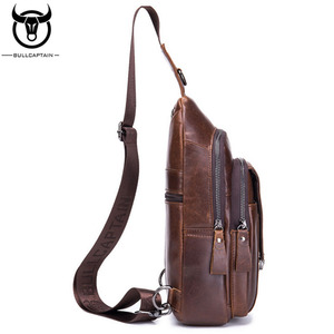 Image 3 - BULL CAPTAIN Quality Men Leather Crossbody Bags Cowhide Casual Riding Sling Shoulder Messenger Bag Chest Day Back Pack