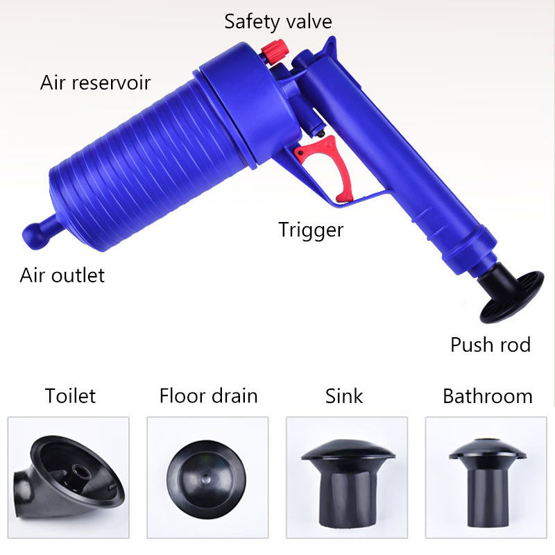 High Pressure Pump Air Drain Blaster Plunger Manual Drain Cleaners Sink Pipe Clog Remover For Toilet Shower Bathroom Kitchen in Toilet Plungers from Home Garden