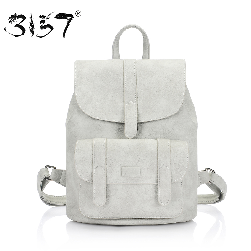 3157 women leather backpack for girls school bags female