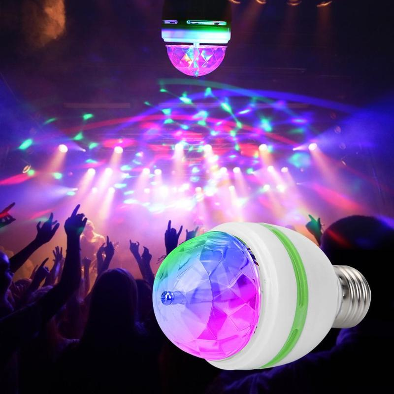Full Color 3W RGB Led Lamps E27 Lampada Led Bulb AC 110V 220V Auto Rotating Stage Lights Projector For DJ Party Show