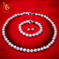 [NYMPH] Genuine Baroque Pearl jewery sets natural freshwater pearl necklace bracelet earrings 8 9mm fine jewelry [t1010]