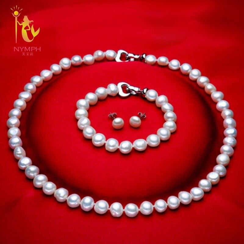 [NYMPH] Echte Barocke Perle jewery stellt natürliche süßwasser perlenkette armband ohrringe 8-9mm edlen schmuck [t1010]