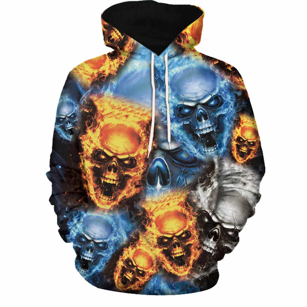 แฟชั่นฮาโลวีนฤดูใบไม้ร่วง Mens 2018 3D พิมพ์ Skull เสื้อแขนยาว Hooded Sweatshirt เสื้อ 8.28