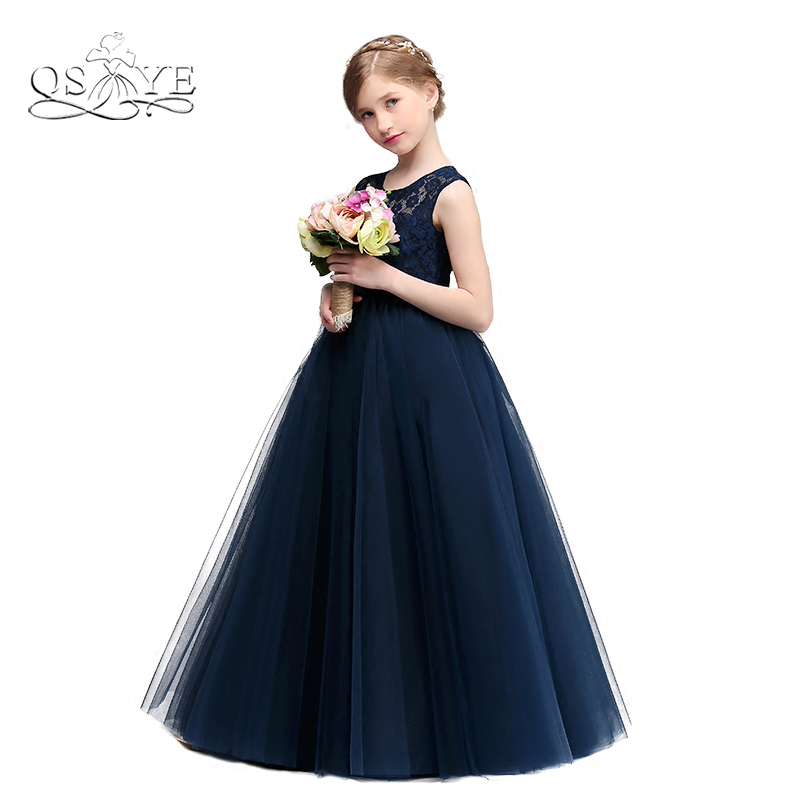 2018 Navy Blue Lace   Flower     Girl     Dresses   Elegant Sheer O-Neck Floor Length Tulle Robbin Sash   Girls   Prom   Dress   Communion Gown