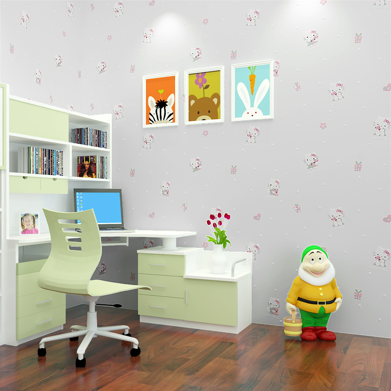 PAYSOTA 3D Hello Kitty Wallpaper Children Room Environmental ...