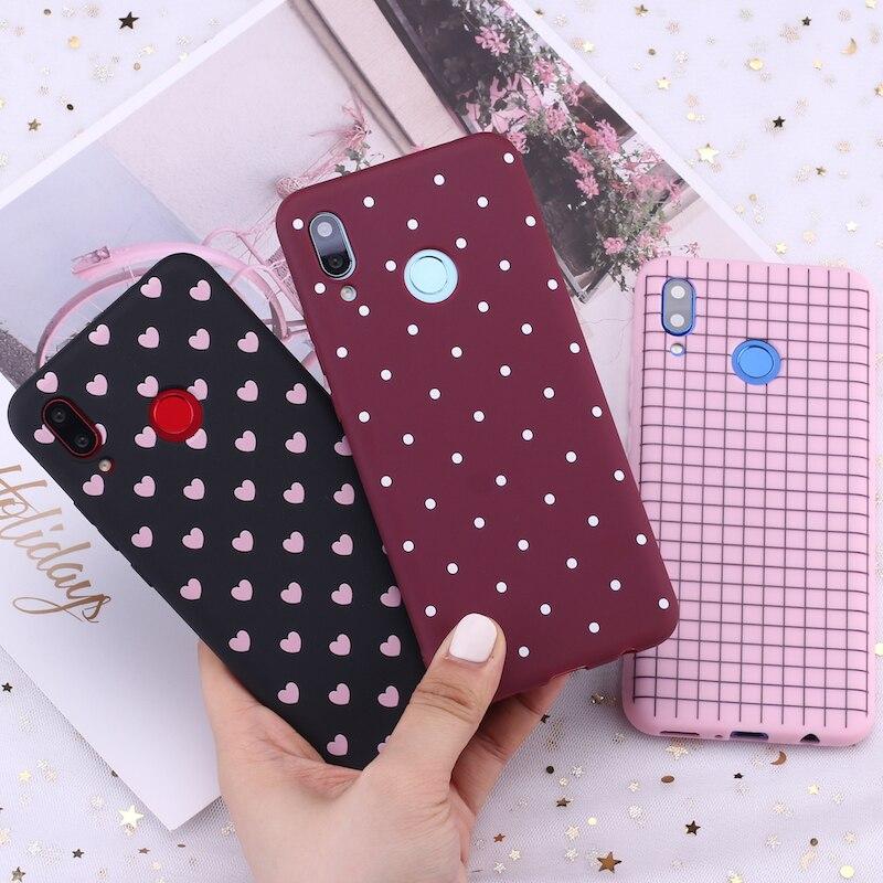 For Huawei Honor Mate 10 20 Nova P20 P30 P Smart Polka Dot Striped Heart Burgundy Candy Silicone Phone Case Capa Fundas Coque