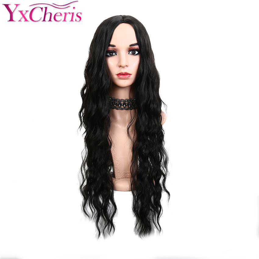 Loose Wave Wig Synthetic Long Black Hair Wig Female Heat Resistant Fiber 22inches Long Red Woman wigs