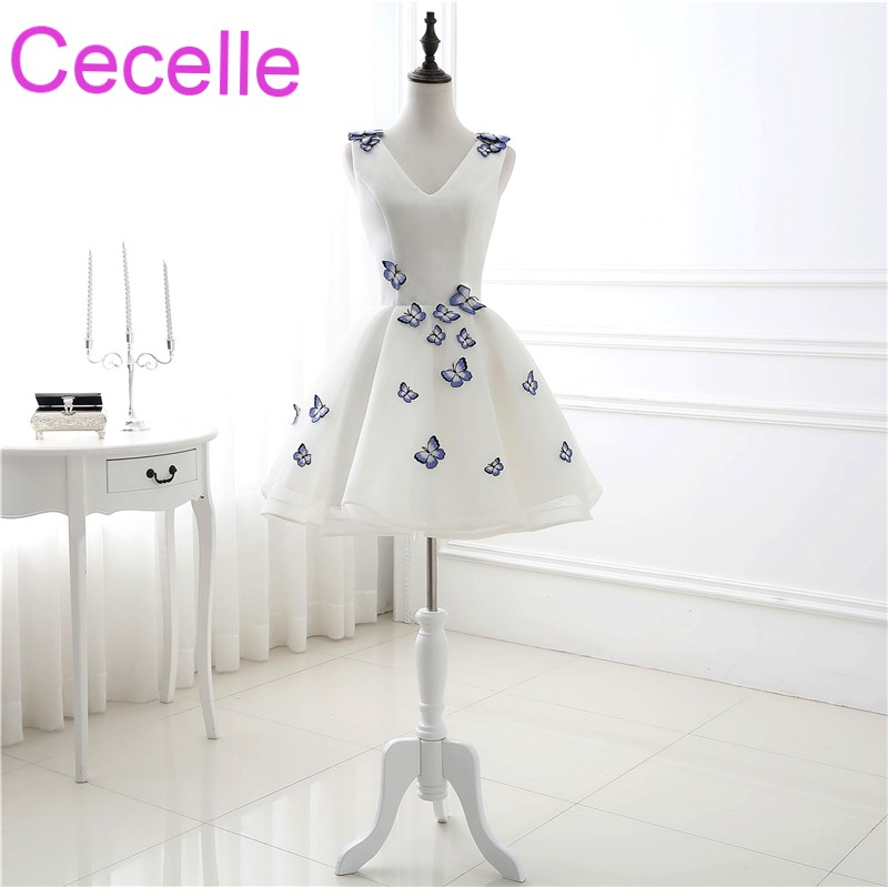 Ivory Cute Short   Cocktail     Dresses   With Butterfly V Neck Sleeveless Corset Back Juniors Informal Prom Party Gowns Real Photos