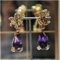 2017 Orecchini Qi Xuan_Fashion Jewelry_Luxury Purple Flower Party Earrings_Solid Silver Luxury Earrings_Factory Directly Sale