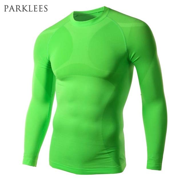 327db25e11287e New Green Compression Shirt Men Brand Fitness Tights Long Sleeve Tee Shirt  Homme Biker T Shirt Men Compress Shirt Men