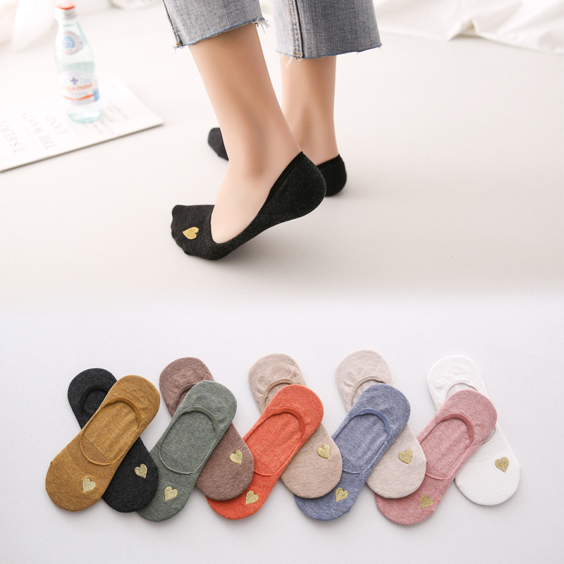 Women Embroidered Sweetheart Solid Color No Show Woman Socks Fashion Girls Cotton Sock Slippers 1 Pair Summer Spring Autumn