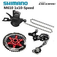 Shimano DEORE M610 1x10 s 10 s Скорость MTB велосипеда список групп с переключения рычага и задний переключатель и цепи и Sunrace кассеты 42 т