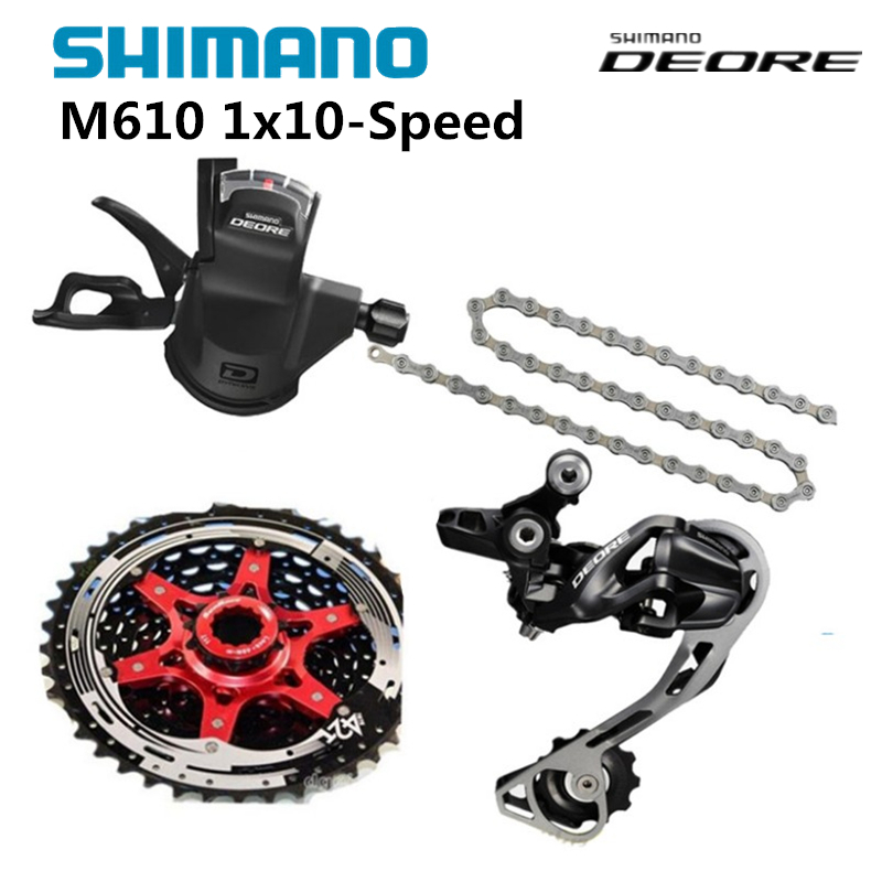 Shimano DEORE M610 1x10S 10S Speed MTB Bicycle Groupset with Shifter lever & Rear Derailleur & Chain & Sunrace Cassette 42T