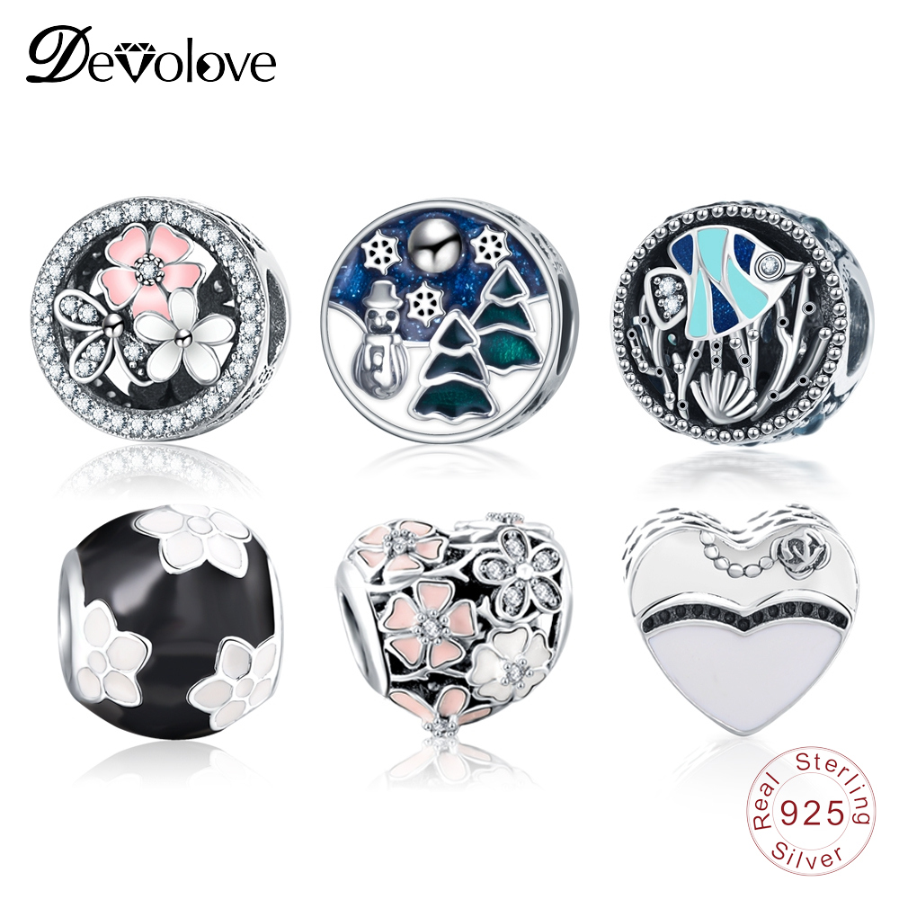 Devolove 925 Sterling Enamel Colorful Beads Fit Original Pandora Charms Bracelets DIY Silver Jewelry For Christmas Dropshipping