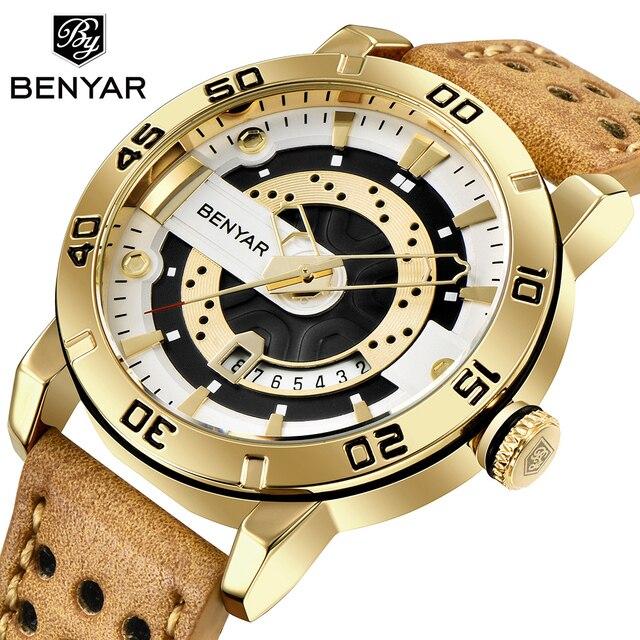 Benyar Heren Horloges Top Brand Luxe Waterdichte Polshorloge Ultra Dunne Datum Quartz Horloge Voor Mannen Sport Klok Erkek Kol saati
