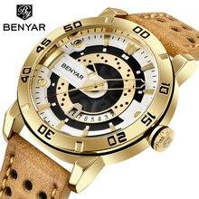 Benyar メンズ腕時計トップブランドの高級防水腕時計超薄型日付クォーツ時計男性スポーツ時計 erkek ため kol saati