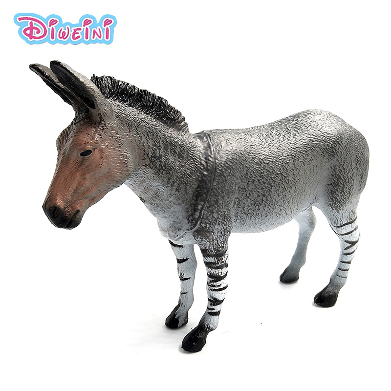 New toys: Zebra ass family pack Simulation model Animals Zoo kids toys children educational props Plastic donkey Action Figures