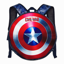 New Captain America's Shield Leather Backpack MARVEL Avengers Alliance Backpack Team 3 Waterproof Wommen Cartoon Bag Unisex