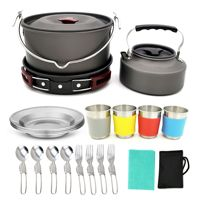 YINGTOUMAN 22pcs Outdoor Hiking Camping Cookware Set 3 5 Person Cookwear Set With 4 Cups Fork Knife Spoon Kit Tableware Pots