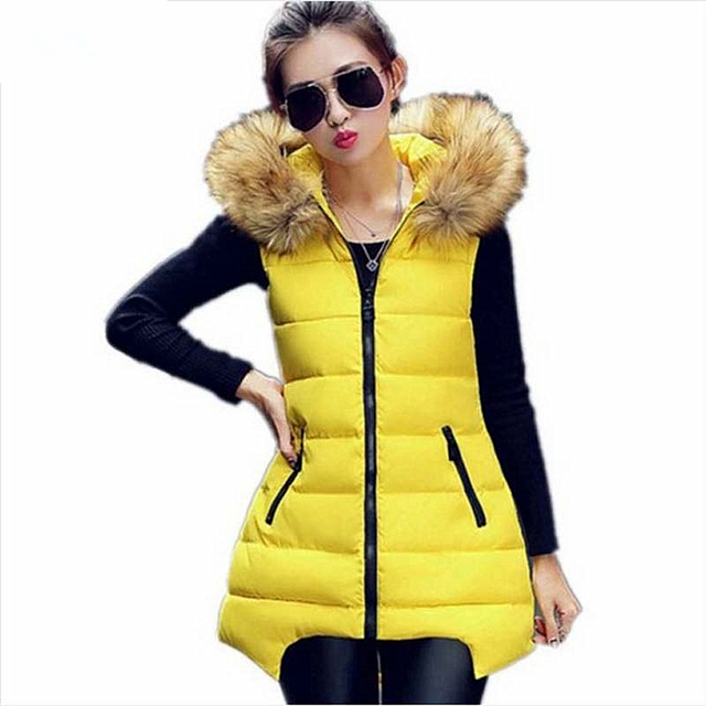 Autumn Winter Women Vest 2016 Fashion New Long Vest Women Faux Fur Hooded Cotton Padded Outerwear Gilet Vest Wholesale