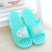 Lovely Cartoon Fish Bone Women Indoor Slippers Shoes New Massage Pattern Slip On Flat Peep Toe Home Bathroom Slippers Pantufas