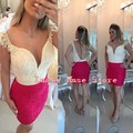 Short White And Hot Pink Cocktail Dresses With Cap Sleeves Pearls Mermaid Women Party Gowns Robe De Cocktail