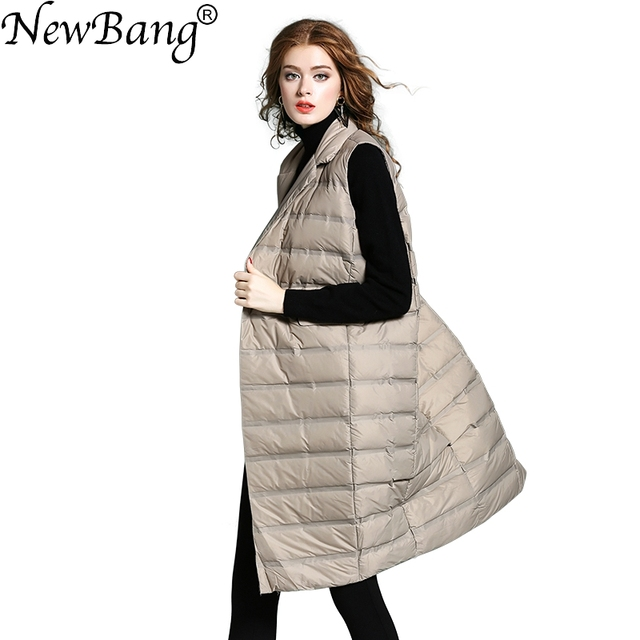 NewBang Brand Womens Long Vest Ultra Light Down Vests Female Sleeveless Windproof Lightweight Warm Long Waistcoat
