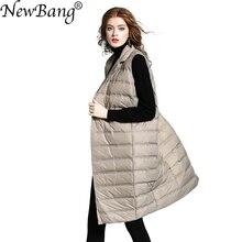 NewBang Marke frauen Lange Weste Ultra Licht Unten Westen Weiblich Sleeveless Winddicht Leichte Warme Lange Weste