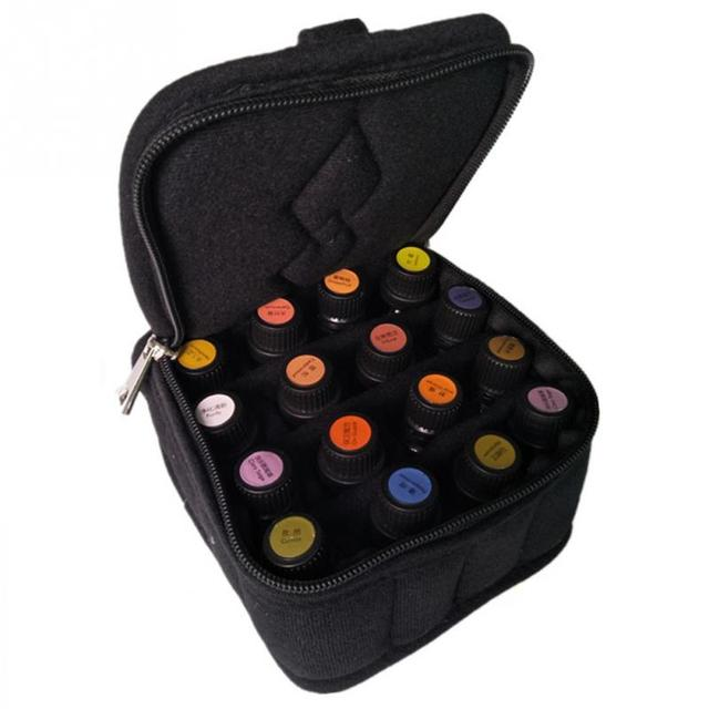Portable 16 Bottles Essential Oil Organizer Holder Bag Nail Polish Case Storage