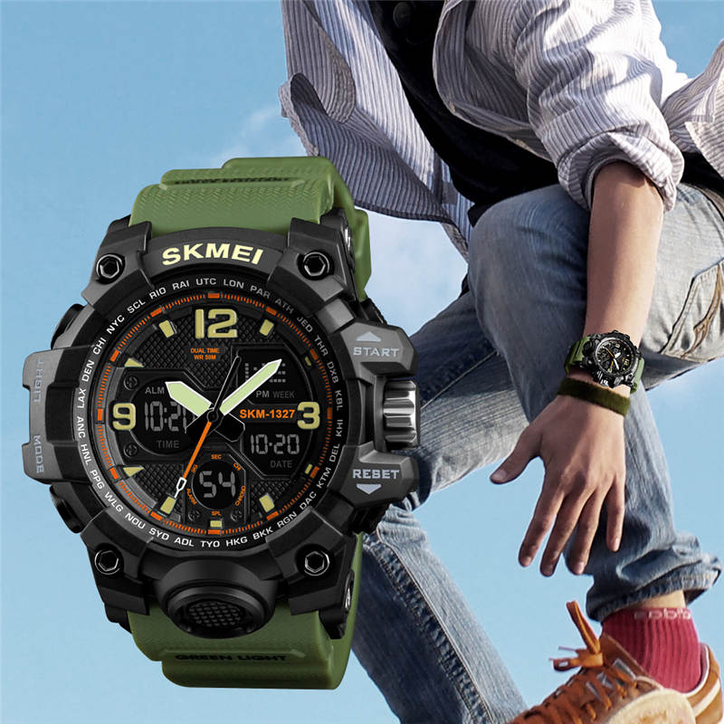 Swim 50M Waterproof Watch Outdoor Sports Men Watches Quartz Electronic Dual Display Military Style Multifunction Male Luminous A