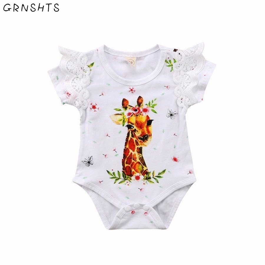 GRNSHTS Новинка 2018 детские для маленьких девочек мультфильм кружева листьев лотоса олень комбинезон Жираф боди цветок детская одежда 0-24 м