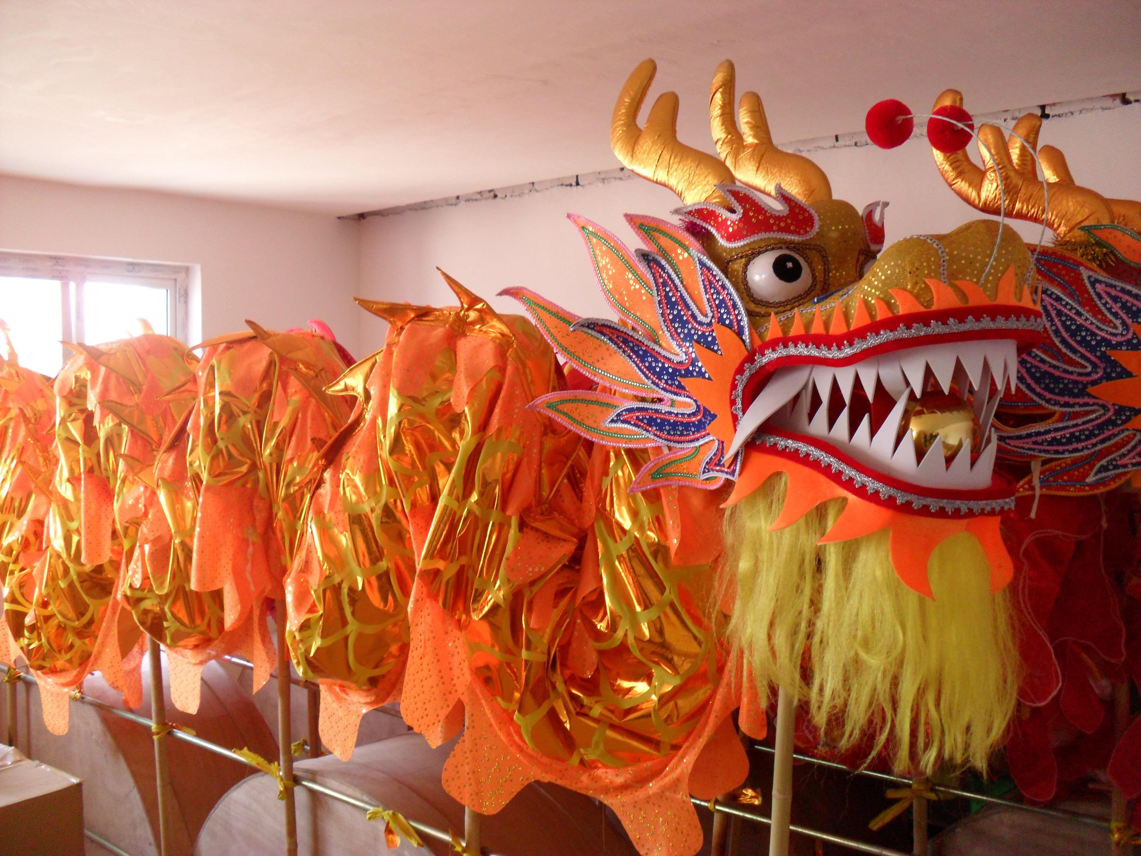 6 m garums četriem pieaugušajiem apzeltītiem ķīniešu DRAGON DANCE ORIGINAL Dragon Chinese Folk Festival svētku tērpiem