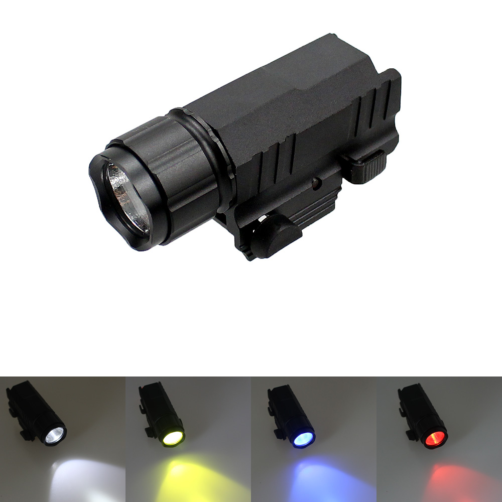 Hunting Gun Light LED Tactical Flashlight 200 Lumens Torch 2 Modes 4 Color Lights for Pistol Handgun