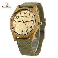 Brand BEWELL Fashion Bamboo Wooden Quartz Watches Male Casual Watches with Soft Canvas Strap as Christmas New Year Gift 124B