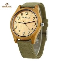 BEWELL Men And Women Wood Watch Big Dial Canvas Wristwatch Reloj 124B