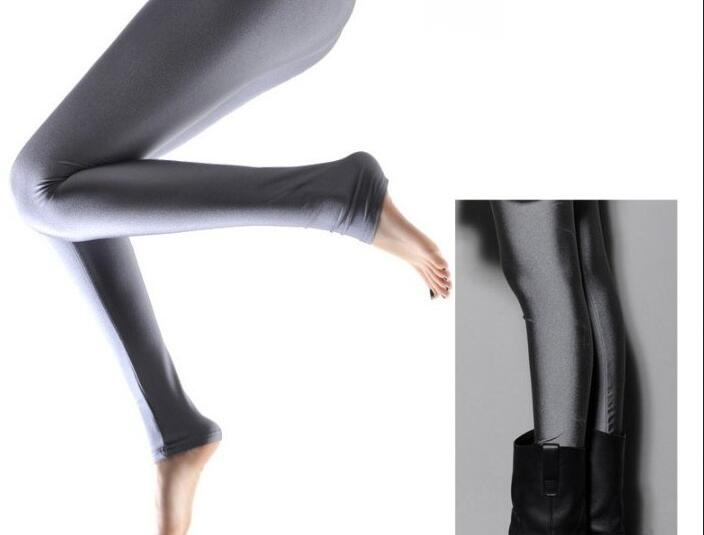 High Waisted Candy Colors Disco Womens Shiny Cute Footless Pants Leggings Лосины